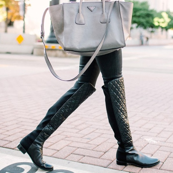 Moto Quilted Black Over The Knee Boots